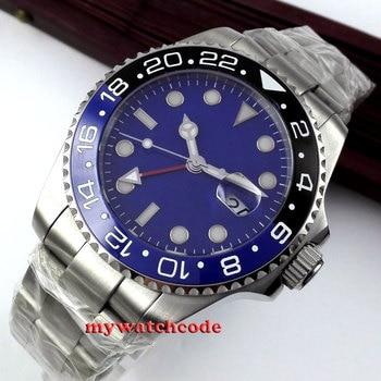 43mm bliger blue sterile dial GMT Ceramic Bezel sapphire glass automatic mens watch 351