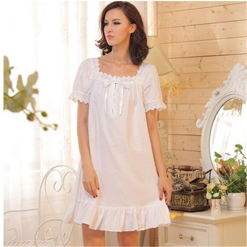 Fashion Princess Women font b Nightgowns b font Cotton Sleepwear White Square Collar Nightdress Ladies Lounge