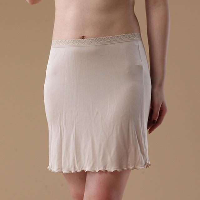 Hoffe 100% Pure Silk Women Half Slips Soft Thin Silk Underskirt Basic Style Sexy Solid Woman Slip New Underwear Black White Nude