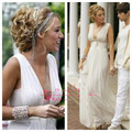 Inspired by Gossip Girl Blake Lively Serena White Chiffon Deep V Neck Pleats Backless Long Party Formal Celebrity Evening Dresse