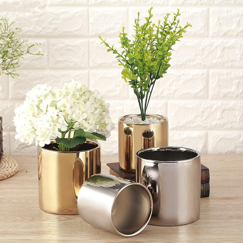 Modern Ceramic Flower Vase Plating Gold Silver Ceramic Vase Planting Flowers Pot Aristocratic Room Decor Table Accessories Gift in Vases from Home Garden