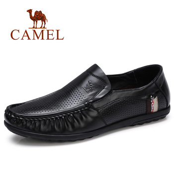 CAMEL New Business Shoes Men Genuine Leather Loafers Breathable Punch Cowhide Male Casual for Man Footwear Mocassins Homens
