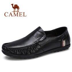 Camel novos sapatos de negócios dos homens mocassins couro genuíno perfurador respirável masculino casual para o homem calçado mocassins homens