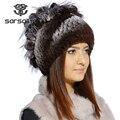 Sarsallya hat para la mujer real rex rabbit fur sombrero de piel de invierno venta mujeres de piel con piel de zorro de plata de la flor de punto gorros cap