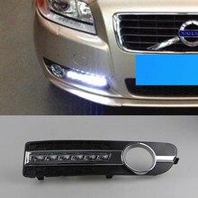 2 Pcsรถจัดแต่งทรงผมสำหรับVolvo S80 2009   2013 LED DRLกลางวันขับรถวิ่งไฟDaylightฝาครอบสีเหลืองเลี้ยวสัญญาณ