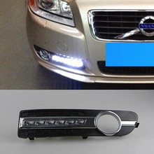 2 pcs car styling for Volvo S80 2009   2013 LED Day light DRL Daytime driving Running Lights Daylight cover yellow turn signal
