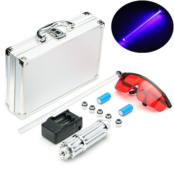 455nm Blue Light Laser Pointer Pen Power Beam 5 Head  Portable Box US Plug Charger 1set laser head owx8060 owy8075 onp8170