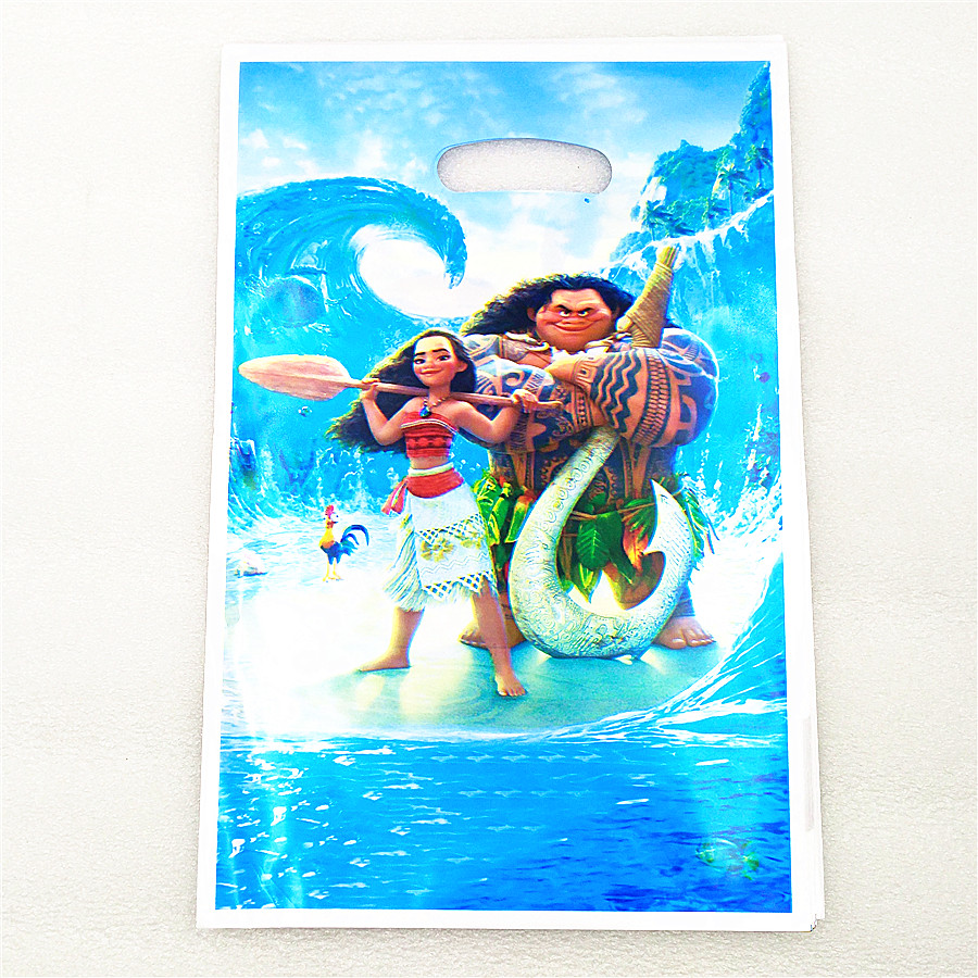 10pcs Moana Plastic Gift Bag Cartoon Theme Kid Boy Baby Shower Moana Birthday Party supplies Decoration Favors Canday Loot Bag in Gift Bags Wrapping Supplies from Home Garden