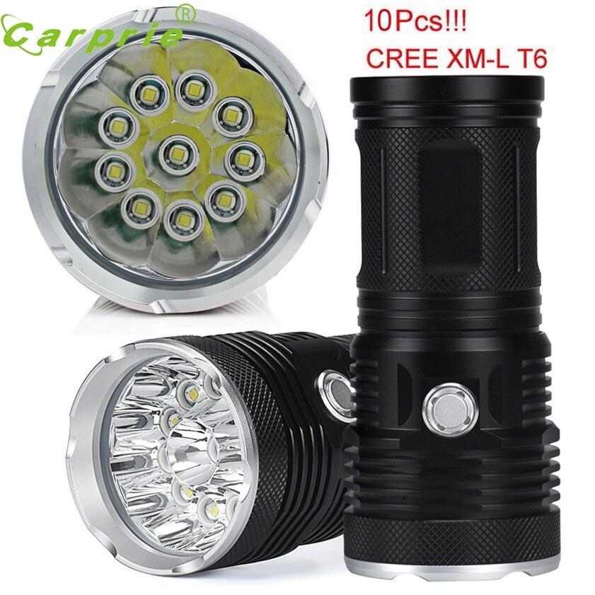 HOT Super 25000LM 10 x CREE XM-L T6 LED Flashlight Torch 4x 18650 Hunting Light Lamp Lot 170130