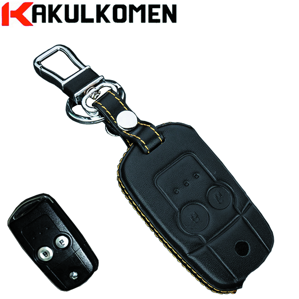 Real leather car key fob cover case for honda 2013 crv 2013 odyssey 2 buttons