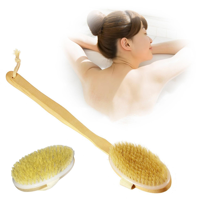 2PCS Bristle Bath Body Brush With Long Removable Handle For Bath SPA Shower Massage