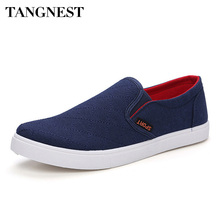 Tangnest 2017 New Men's Flats Fashion Shoes Man Solid Leisure Slip On Loafers Casual Canvas Shoes For Male Size 39-44 XMF133