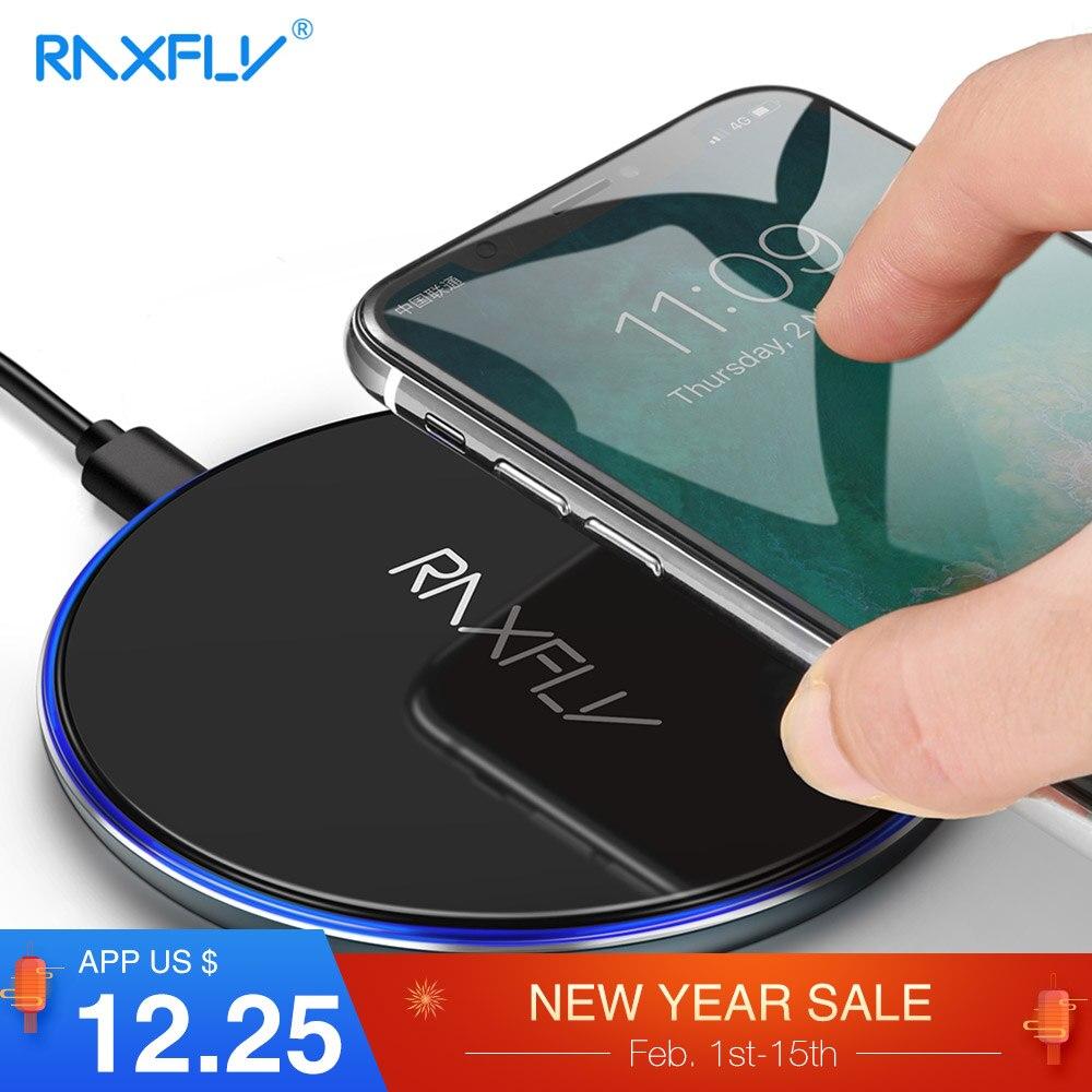 RAXFLY Qi 10 W Caricatore Senza Fili Per iPhone X S MAX XR X Samsung Nota 9 S9 Veloce di Ricarica Senza Fili caricatore Pad Caricatore Inalambrico