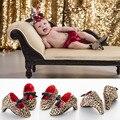 Nueva Moda Dulces Lovey Bebé Recién Nacido Infant Toddler Girls Princess Suela blanda Antideslizante Zapatos del Pesebre del Bebé de Mary Jane Arco tacones
