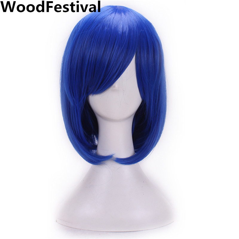 WoodFestival 12 Inch 9 Colors Cosplay Wigs With Bangs Sky Blue Silver Grey Purple Black Pink Green Red Short Bob Synthetic Wig