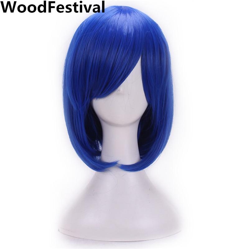 WoodFestival mujer peluca sintética cosplay cabello resistente al calor rubio rojo azul púrpura recto corto bob pelucas con flequillo negro