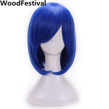 WoodFestival women synthetic wig cosplay hair heat resistant blonde red blue purple straight short bob wigs with bangs black