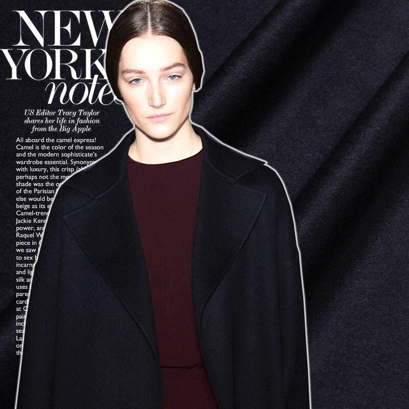 Бесплатная доставка! Старший чистый черный кашемировая шерсть ткани Осень зима полноценно пальто ткани