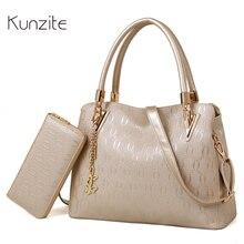 Kunzite Fashion Designer Women's Shoulder Bags PU Leather Famous Brand Bags Ladies Purses and Handbags Sac A Main 2 Bag Set 2017