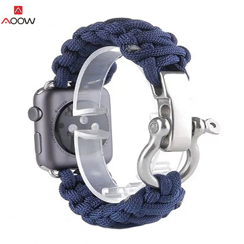 AOOW Nylon Rope Watchband 38mm 42mm for Apple Watch iwatch 1 2 3 Military Tactical Parachute Cord Survival Watchband Accessories oumily military army survival parachute rope black 30m 140kg 2 pcs