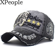 XPeople Mens cap Distressed Vintage Patch Washed Cotton Low Profile Embroidered Snapback Trucker Hat for men and women