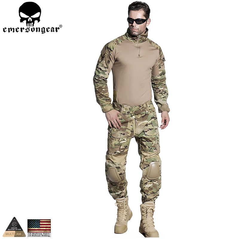 EMERSONGEAR Airsoft Training Clothing Combat Shirt Pants with Elbow Knee Pads Multicam Camouflage Suit Hunting Uniform EM2725 7pcs xiaomi skating cycling helmet knee pads elbow wrist brace set