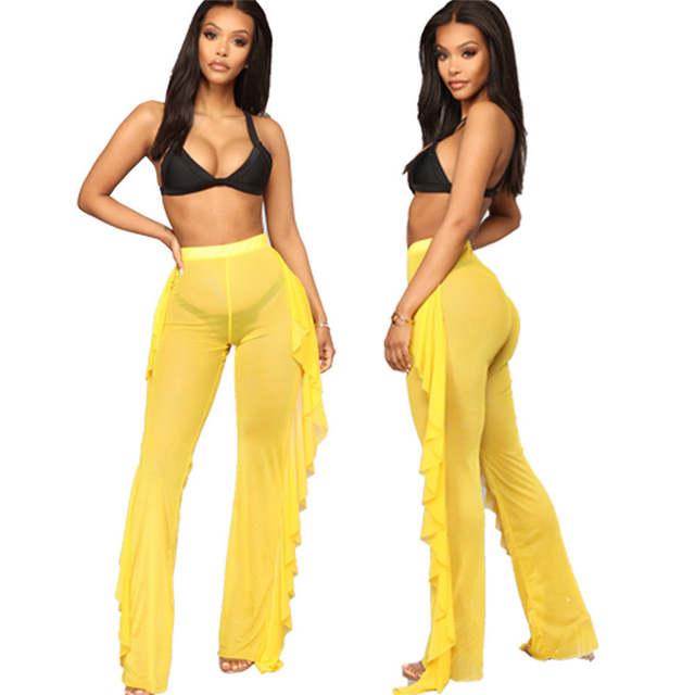 a4eb074d85 placeholder 2019 Summer Ruffles Swim pants Women Beach Mesh Sheer Bikini  Cover Up Swimwear Bathing Suit Pant