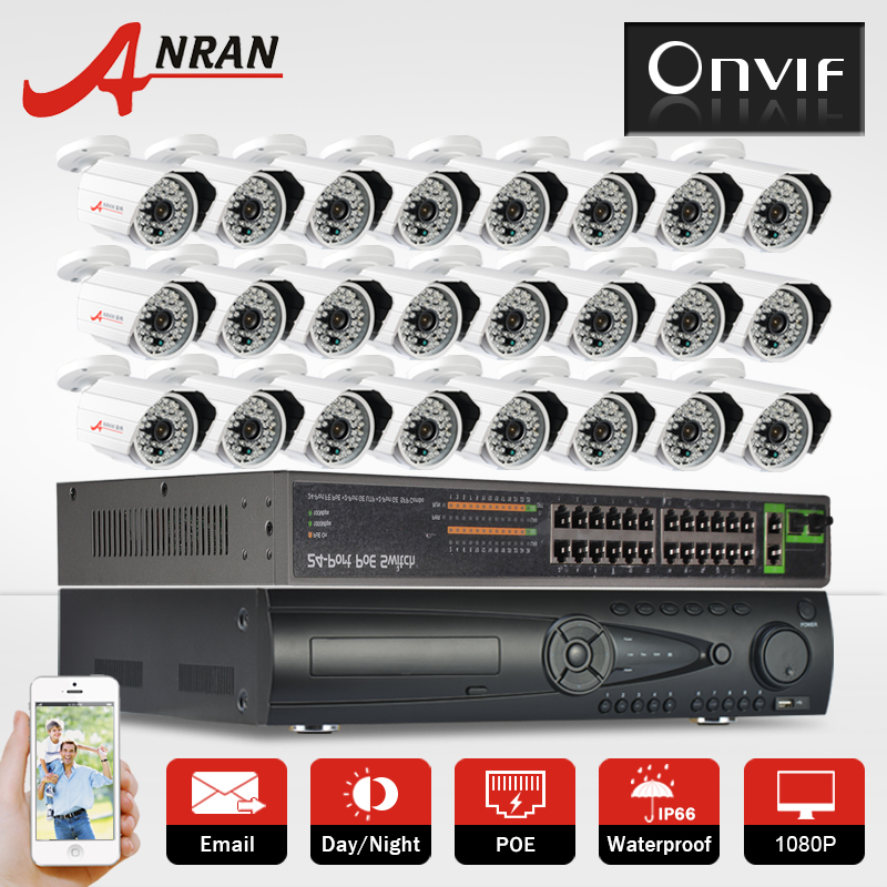 9TB HDD 24CH POE Switch&NVR H.264 Video Surveillance POE System Onvif 2.0 MP 1080P HD 48 IR Outdoor Network POE IP Camera Kit