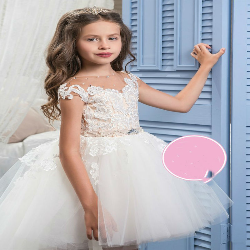2017 Girls Dresses for Party Asymmetrical Little Girls Dresses Lace Girls Dresses for Party Sleeveless Mother Daughter Dresses