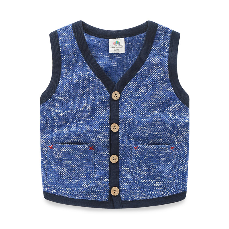 Spring autumn baby waistcoat V-neck pocket sweater Korean vest kid boy cardigan child outerwear waistcoat casual clothes 1032 98