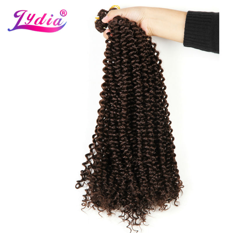 "Lydia Freetress Synthetic 28 ""3PCS / lot Color puro 4 # Bohemio Crochet Braid Extensión del pelo Crochet Latch Hook Trenzado de pelo a granel"