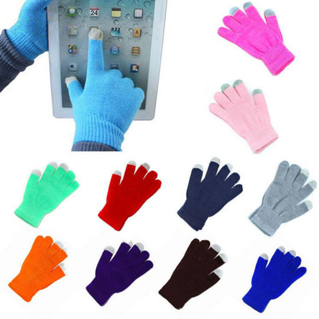 Fashion Solid Color Women Gloves Full Finger Mittens Winter Knitting Touch Screen Gloves Thickening Warm Driving Gloves