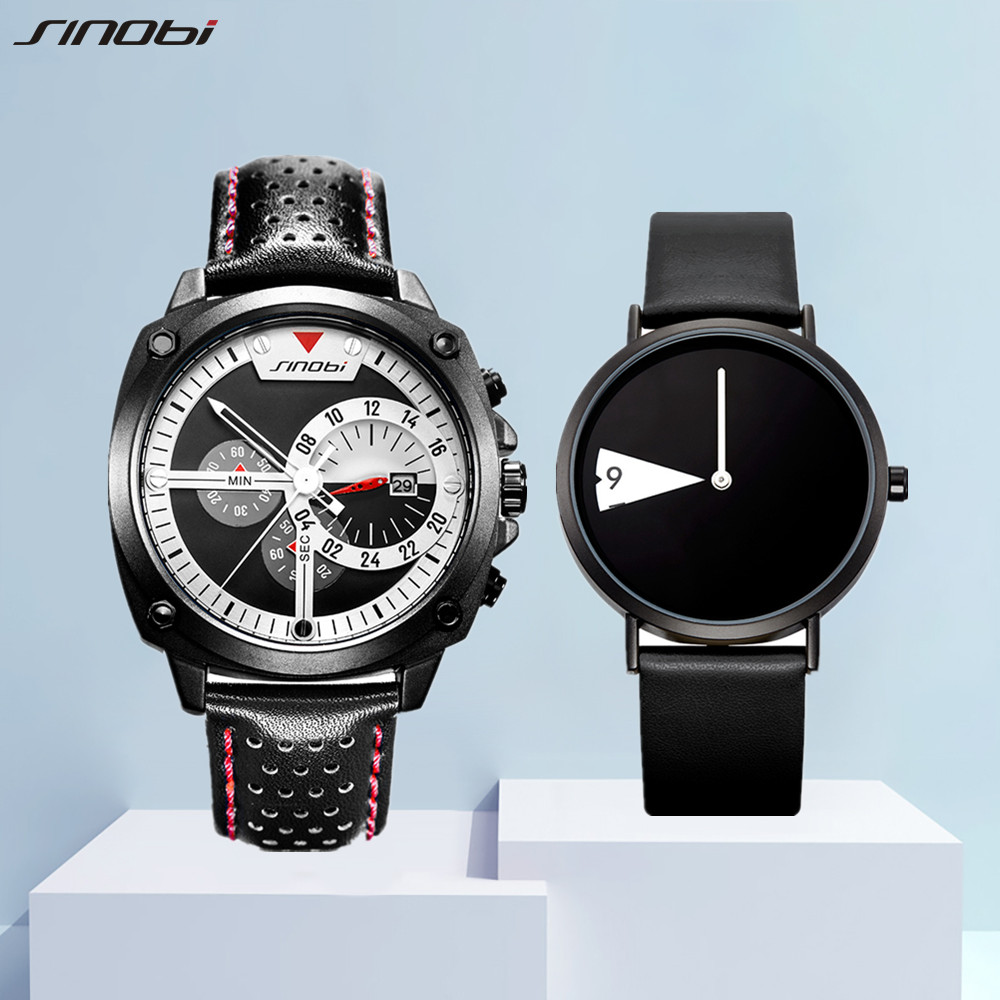 SINOBI Lover's Watches for Men and Women Fashion Sports Wristwatch Creative Date Clock Couple Watch Gifts Set for Sale relogio