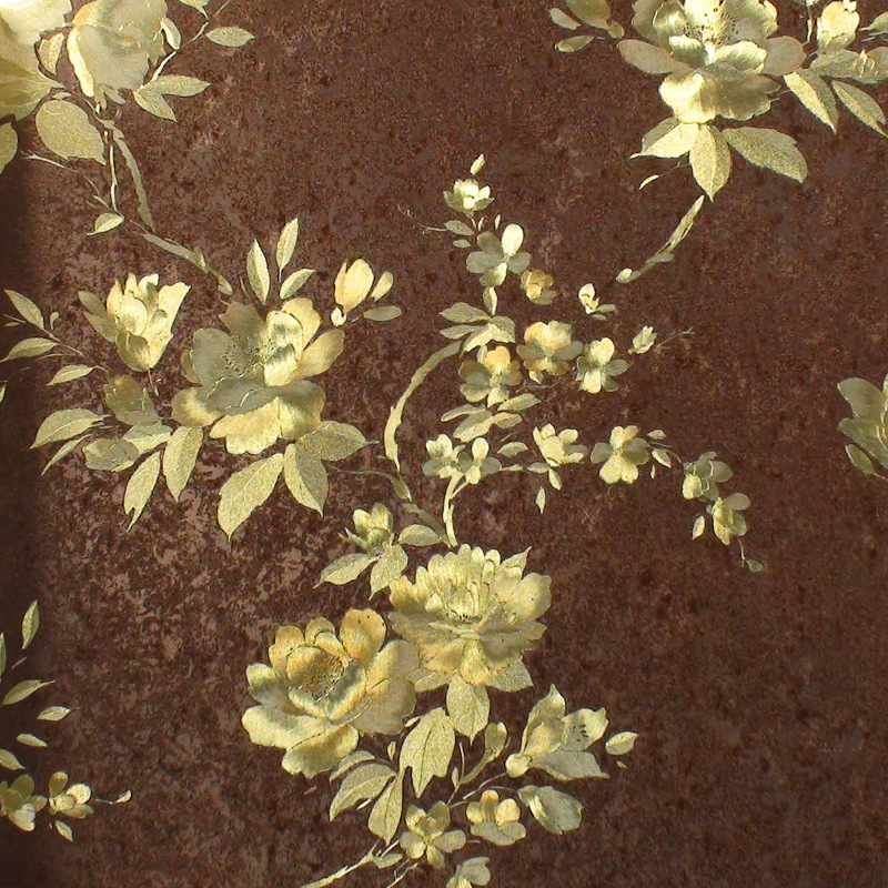 beibehang Chinese rich floral pattern gold foil paper gold living room bedroom TV background works wallpaper 3d flooring