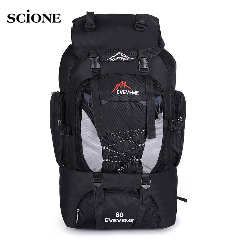 Backpacks 80L Camping Hiking Backpack Bag Outdoor Sports Bags Travel Waterproof Shoulder Men Climbing Fishing Rucksack XA535WA outdoor backpack 80l camping bag travel sports bags waterproof package men rucksack climbing bags hiking backpack