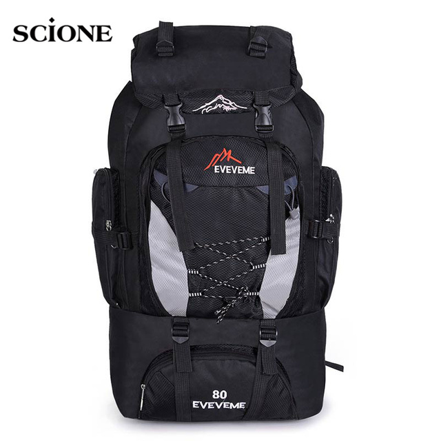 c543e091b334 Backpacks 80L Camping Hiking Backpack Bag Outdoor Sports Bags Travel  Waterproof Shoulder Men Climbing Fishing Rucksack