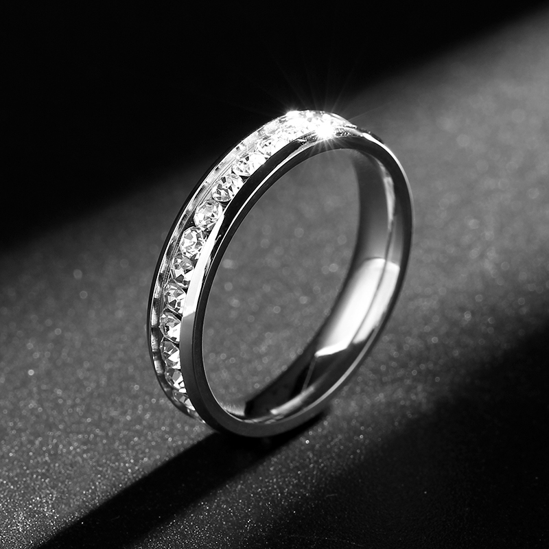 4MM Never Fade Gold Color 316l Stainless Steel Ring Titanium Steel Engagement Wedding Ring