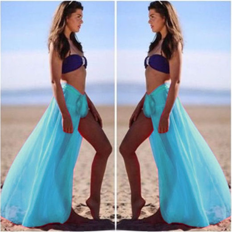 Hot Selling Vintage Long Skirts Women Summer Elegant Beach Maxi Skirt Boho High Waist Asymmetrical Candy Color Femme Beach Skirt