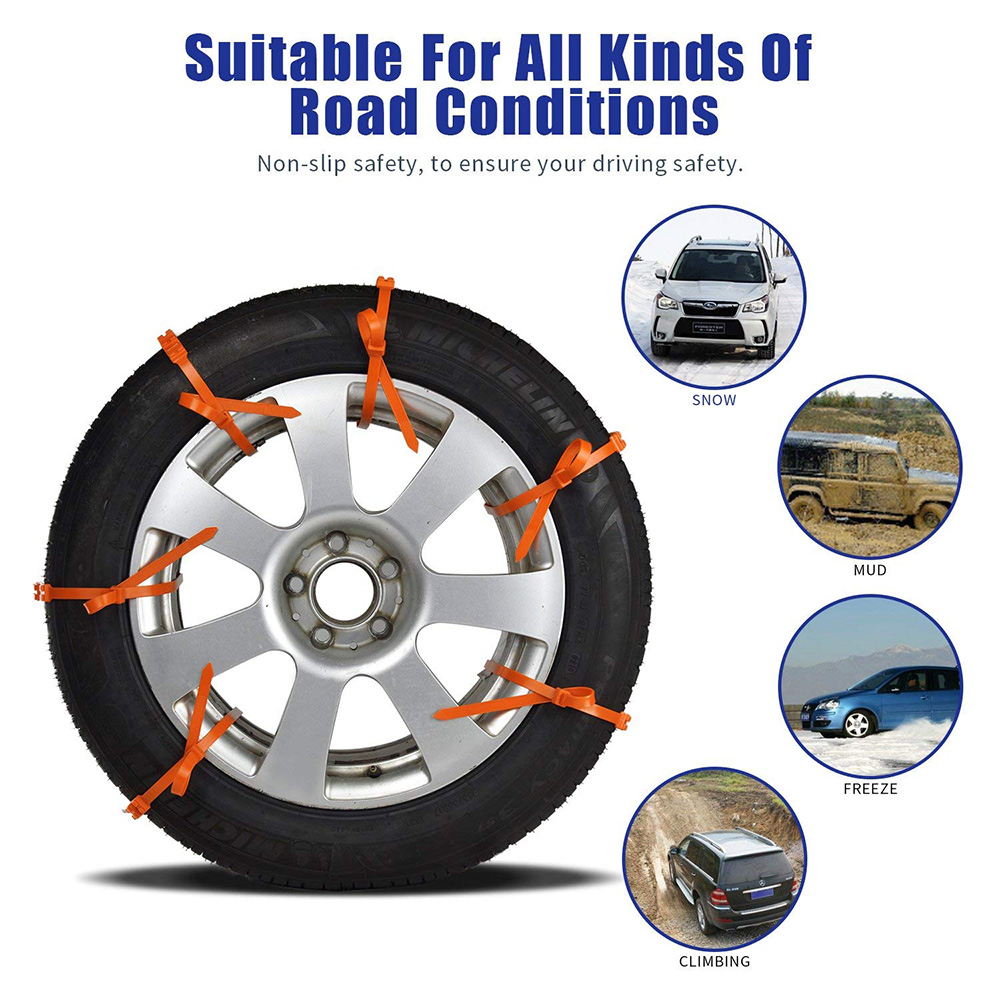 Anti Snow Chains Of Car Easy Universal Fit Emergency Anti-Skid Mud Snow Survival Traction Universal Anti Skid Tire Chains Wheel For Cars