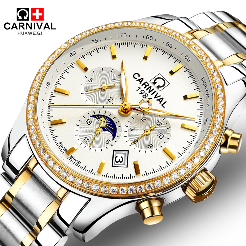 Carnival Watch Men Moon Phase Automatic Mechanical Luminous Gold Stainless Steel Waterproof multifunction White Watches