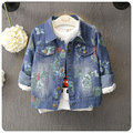 2016 autumn children's clothes girls jackets  printed denim blue baby girl coats for girls kids causal cardigan outerwear