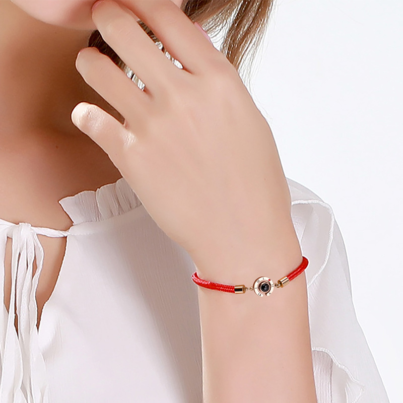 2019 New Chinese Red Rope Bracelets Women Pig Year 100 Language I Love You Jewelry Projection Stones Rose Gold Zodiac Bracelet(China)