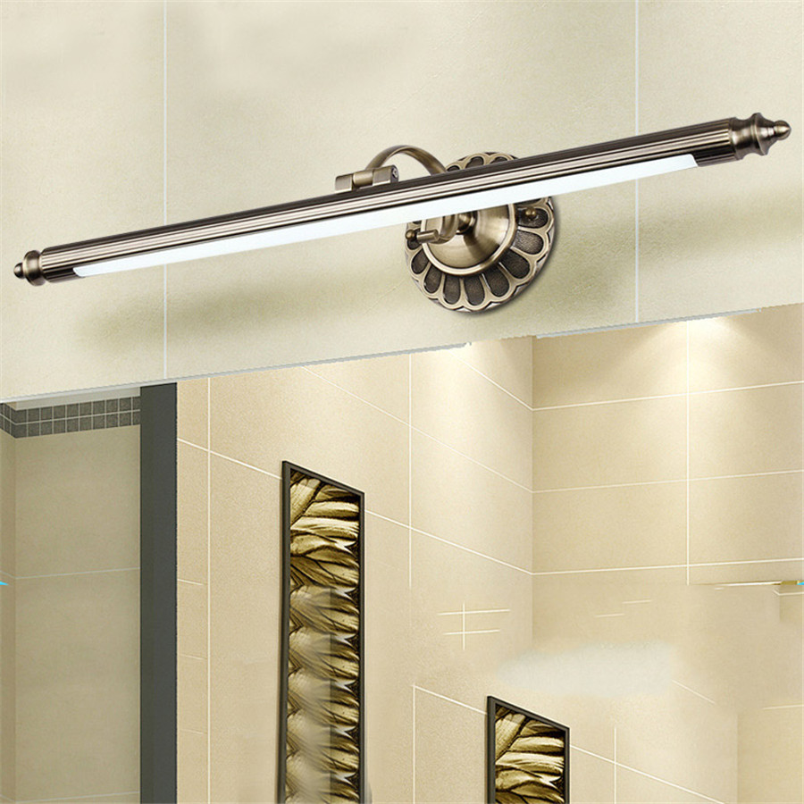 8w 50cm luxury led bathroom mirror lamp retro bronze for Bathroom cabinet lighting fixtures