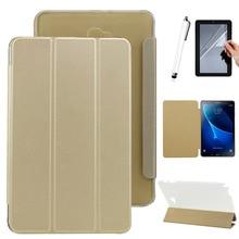 Caso plegable Para Samsung Galaxy Tab 10.1 SM-P580/P585 PU Flip Funda de cuero de la cubierta + Free pen + película
