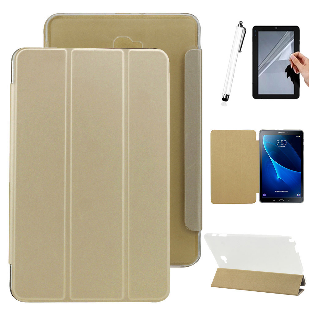 Folding Case For Samsung Galaxy Tab A 10.1 SM- P580 / P585 PU leather Flip Stand Case cover + Free pen+film