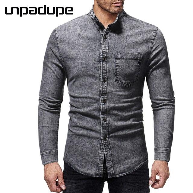 a8eeb0417 Shirts Brand 2018 Men Shirt Cowboy Dress Shirt Standing Collar Streetwear  Slim Fit Camisa Masculina Casual