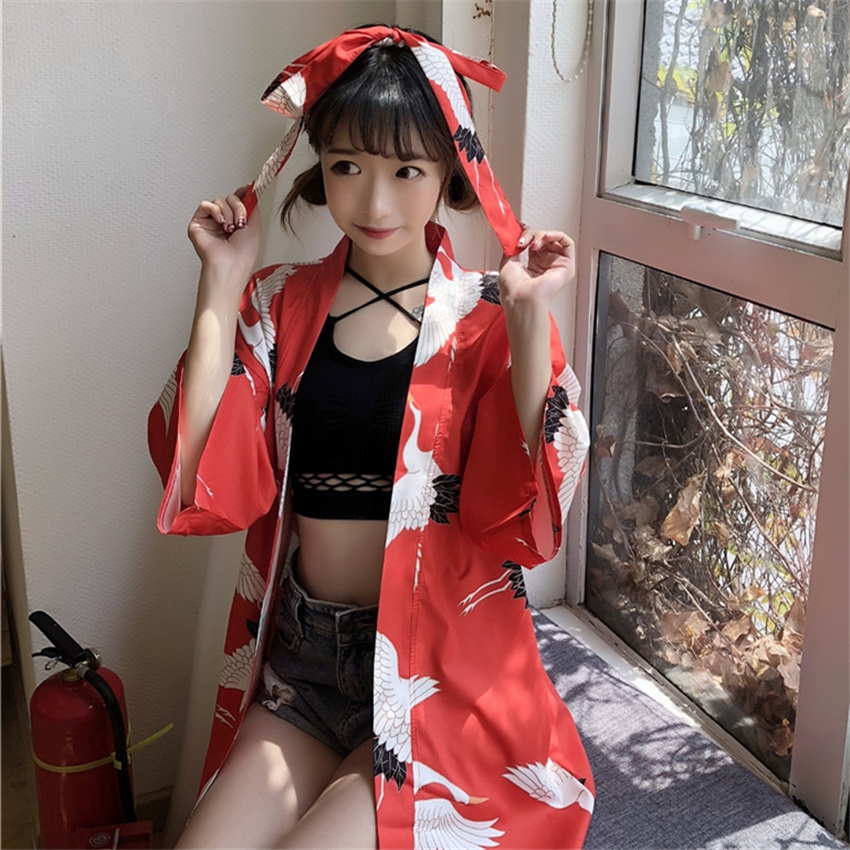 New Summer Female Japanese Fashion Asian Kimono Haori Print Crane Casual All-match Modern Traditional Women Yaukta Clothing