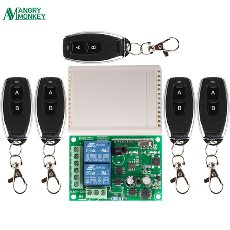 433Mhz Universal Wireless Remote Control Switch AC 250V 110V 220V 2CH Relay Receiver Module and 5pcs RF 433 Mhz Remote Controls