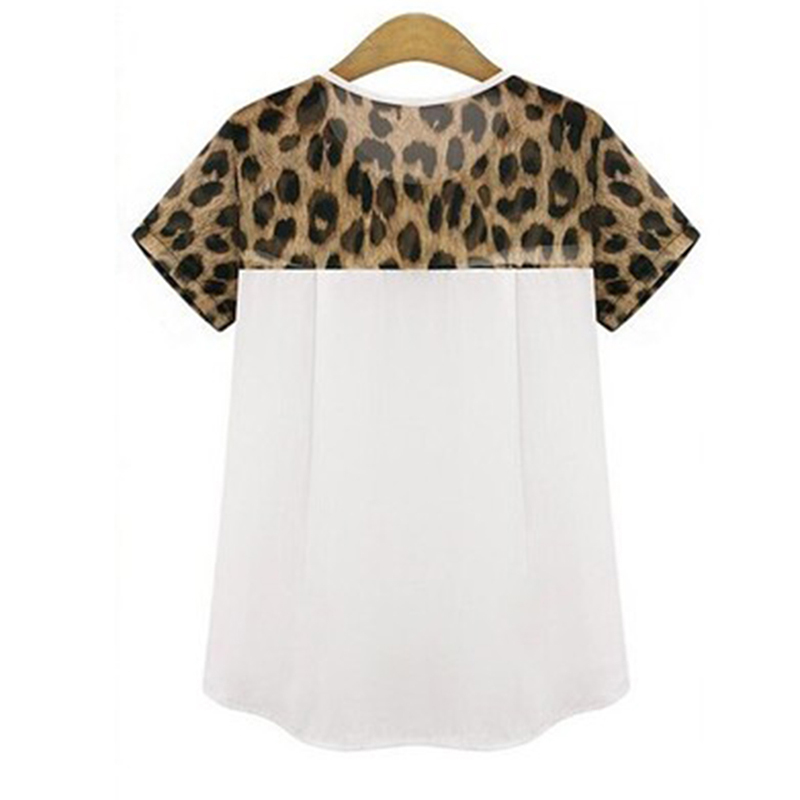 ff03470db658 2018 Summer New Fashion Chiffon Casual Women T Shirt Tops White Black  Leopard Print Short Sleeve O Neck Ladies Tees T shirt-in T-Shirts from  Women s ...