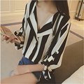 Striped Spring Summer Work Women Tops  2016 Sleeve Casual Loose Shirt Blusas Femininas Plus Size Blue A887